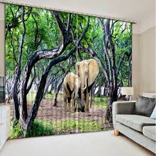 Kurz Küche Vorhänge Elefanten Wald Fenster Vorhänge Für Wohnzimmer