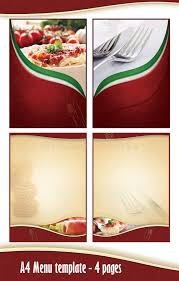 pages menu template a4 4 pages menu template italian restaurant stock illustration