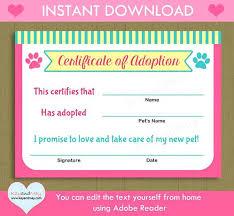 Pet Adoption Certificate Template Pet Adoption Certificate Template The Best Collection Toy