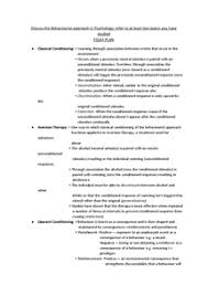 behaviourist approach to psychology essay plan document in a page 1