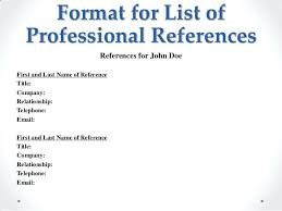 Reference List Sample Resume References Template Professional 1 Of ...