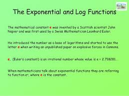 The Exponential And Natural Log Functions