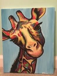 giraffe paintings on canvas easy acrylic canvas painting ideas for beginners