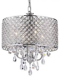 drum 4 light crystal chandelier chrome contemporary inside drum chandelier with crystals