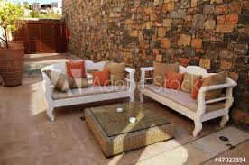 Image Balcony Mediterranean Patio With White Outdoor Furnituregreece Adobe Stock Mediterranean Patio With White Outdoor Furnituregreece Buy This
