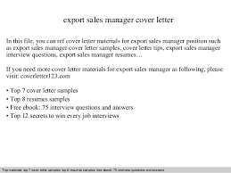 Sales Resume Cover Letter Export Sales Manager Cover Letter