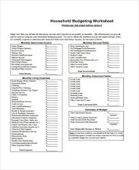 Monthly Household Expense Form Budget Forms In Pdf