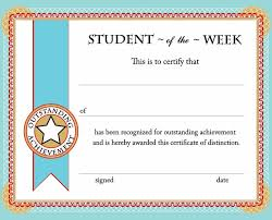 Free Award Certificate Templates For Students Student Of The Week Certificate Free Printable Back To School