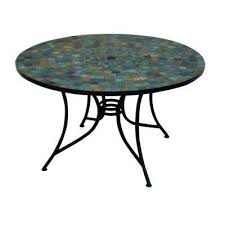 stone harbor 51 in round slate tile top patio dining table