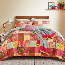 clarissa hulse mini patchwork double duvet cover set pink