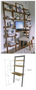 DIY desk made with all boards! Ana White Build a Leaning Wall Ladder Desk  Free and Easy DIY Project and Furniture Plans