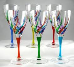 italian crystal rainbow wine glasses due zeta set of 6 wine glasses with colored stems