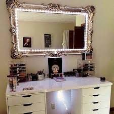 desk mirror with lights. Interesting With This Mirror Is Perfect Can Easily Do This With Any Mirror Just Get The  Lights In A String Throughout Desk Mirror With Lights