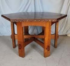 antique mission hexagonal oak table