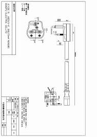 uk bs 1363 a power cords y006a to st3 c13 ningbo yunhuan view technical drawing uk bs1363 to c13 power cord drawing