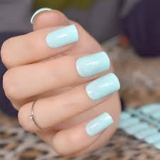 Us 1 12 22 Off Light Blue Acrylic Candy Manicure Products Medium Square Uv Gel Fake Nails Ol Style Women Daily Wear False Nail Point 24pcs 204m In