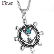 whole whole sea style lovely enamel ship wheel pendant necklace natural oval opal green stone choker for man women diamond necklaces pendants