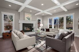 Transitional Living Room with Tilton Coffered Ceilings Box Beam System, Box  ceiling, Hardwood floors