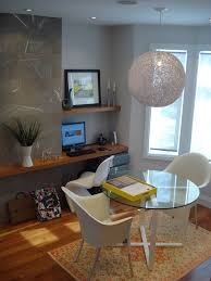 modern desk and shelf modern home office idea in toronto with gray walls medium tone hardwood amazing wood office desk