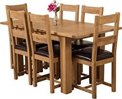 Hermosa Windsor Solid Oak Small Extendable Dining Table And 6 Lincoln Chairs,  Brown