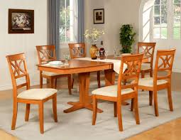 7pc dining room set table and 6 wood seat chairs in light dining room sets with