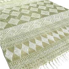 woven kitchen rug cotton flat woven rug green block print accent area hand weave 3 kitchen