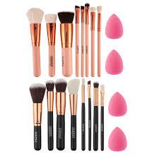 sponge brush makeup. 8pcs rose gold makeup brush set eye shadow powder blush foundation +2pc sponge puff a