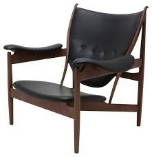 grande leather lounge chair american ash with walnut stain black