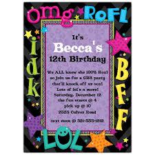 Teen Talk Birthday Party Invitations P Z Fresh Teenage Girl Party
