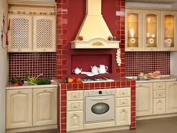 Red Country Kitchen Cabinets Astounding Brown Interior Kitchen Design With Island Ideas Under