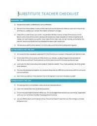 Substitute Teacher Checklist Template