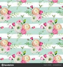 Naadloze Bloemmotief Met Roze Rozen En Ranunculus Bloemen