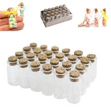 mini clear glass jars bottles with cork stoppers