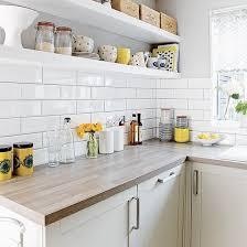White kitchen with metro tiles and open shelves | Metro tiles, Open shelves  and Shelves