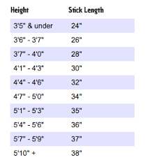 Field Hockey Stick Height Chart Field Hockey Stick Size Chart