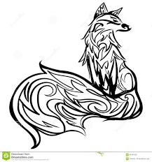 стилизованная линия искусство лисы черно белая татуировка