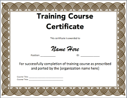 Microsoft Word Training Certificate Template