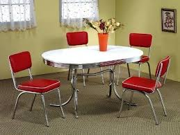 white retro style kitchen metal chrome round 50s dinner red kitchen table and chairs set