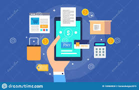 E Payment System Design People Paying Money Online Electronic Payment Stock Vector