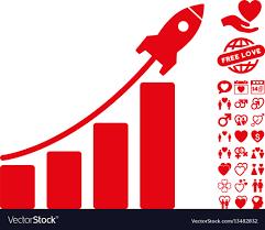 Startup Rocket Bar Chart Icon With Love Bonus