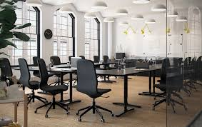 ikea for office. Combine Modern Black-brown / Black BEKANT Desks And Ergonomic LÅNGFJÄLL Work Chairs To Create Ikea For Office N