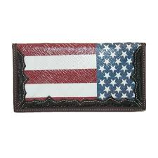 new 3 d belt company leather hand tooled american flag rodeo checkbook cover