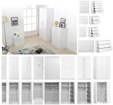 2 Tone White Gloss Bedroom Furniture Set Wardrobe Chest Bedside with ...