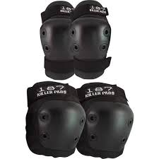 187 Killer Pads Combo Pack Black Knee Elbow Pad Set Small Medium