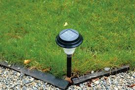 solar lamp on garden path