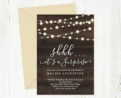 Surprise Party Invitation Template Printable Rustic Birthday Anniversary Invite String Fairy Light Wood Pdf Instant Download Digital File