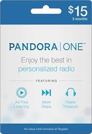 pandora 3 month pandora one subscription card larger front