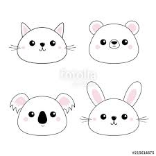 """<b>Cat kitten bear</b>, <b>rabbit</b>, hare, grizzly, koala head face set. Doodle ..."