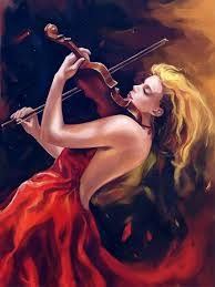 art fantasy red woman playing painting