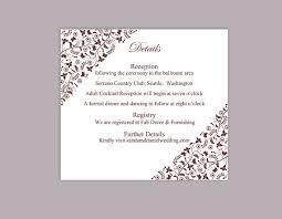 Wedding Enclosure Card Template Diy Wedding Details Card Template Download Printable Wedding Details